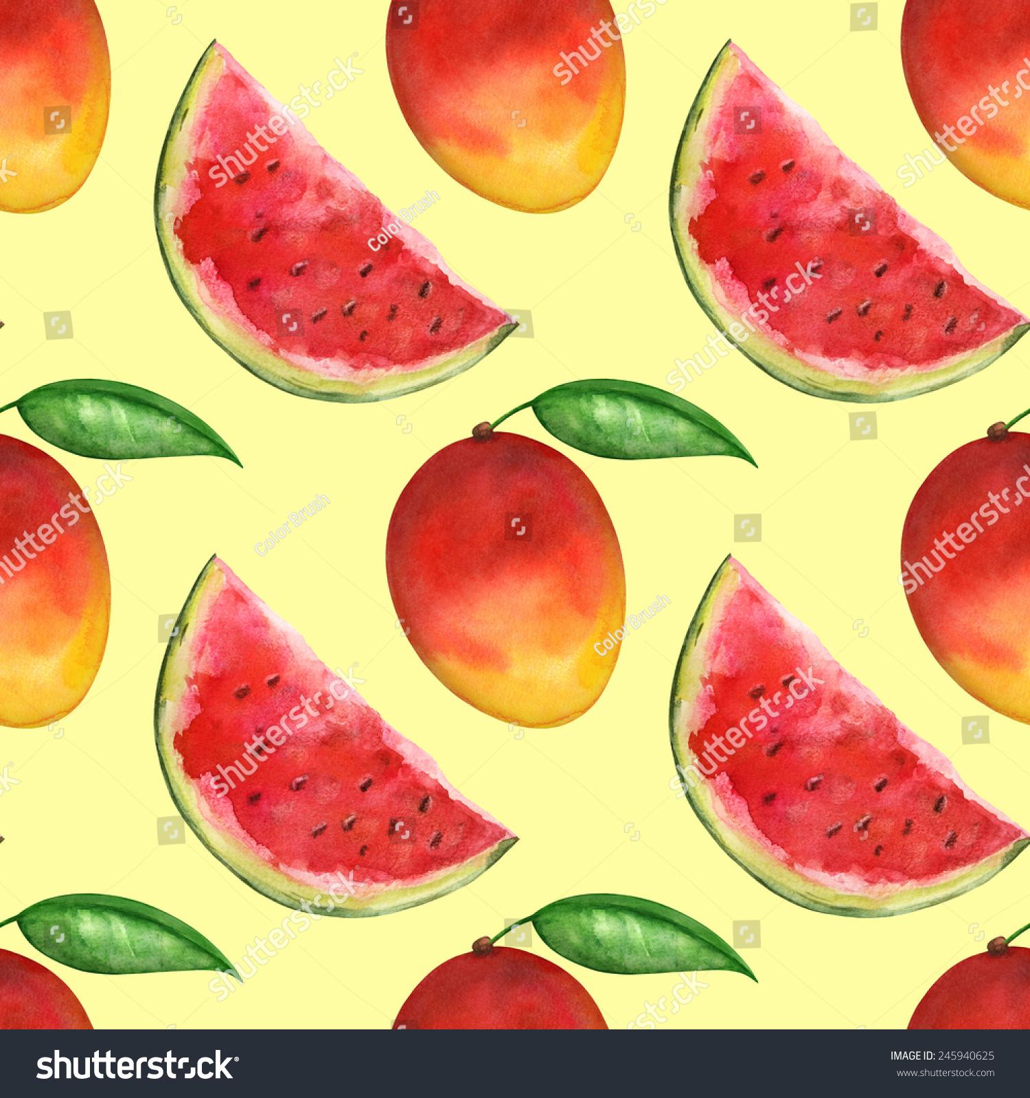 水彩画的无缝图案的西瓜,芒果,叶子上的黄色背景的.和