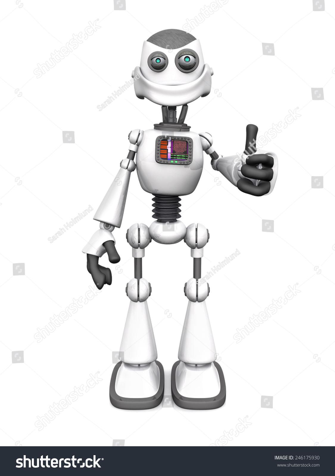 微笑的白色卡通机器人用手做一个大拇指.白色背景.