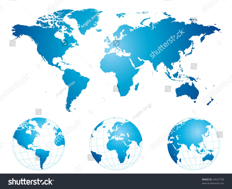 手绘世界地图和地球仪(详细)-背景/素材