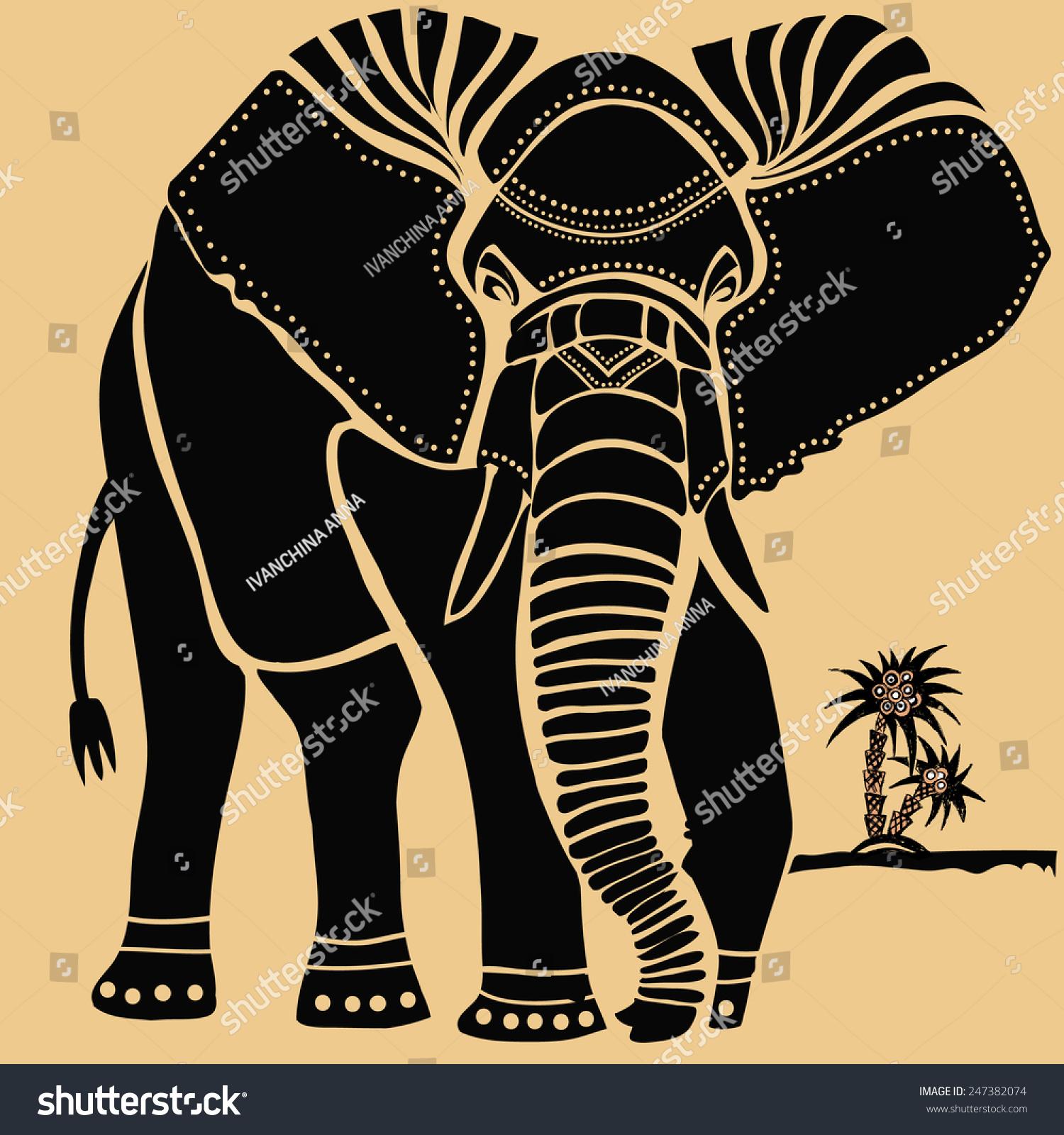 大象的剪影.-动物/野生生物,其它-海洛创意()-.
