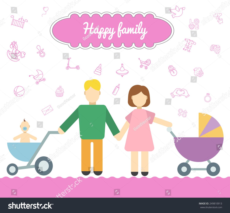 父亲和母亲与婴儿推车
