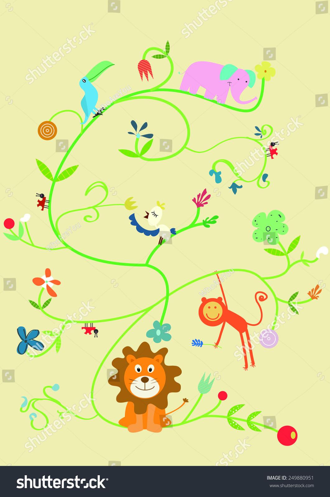 可爱的动物集合.矢量猴子,狮子,鸟,巨嘴鸟,大象,瓢虫.
