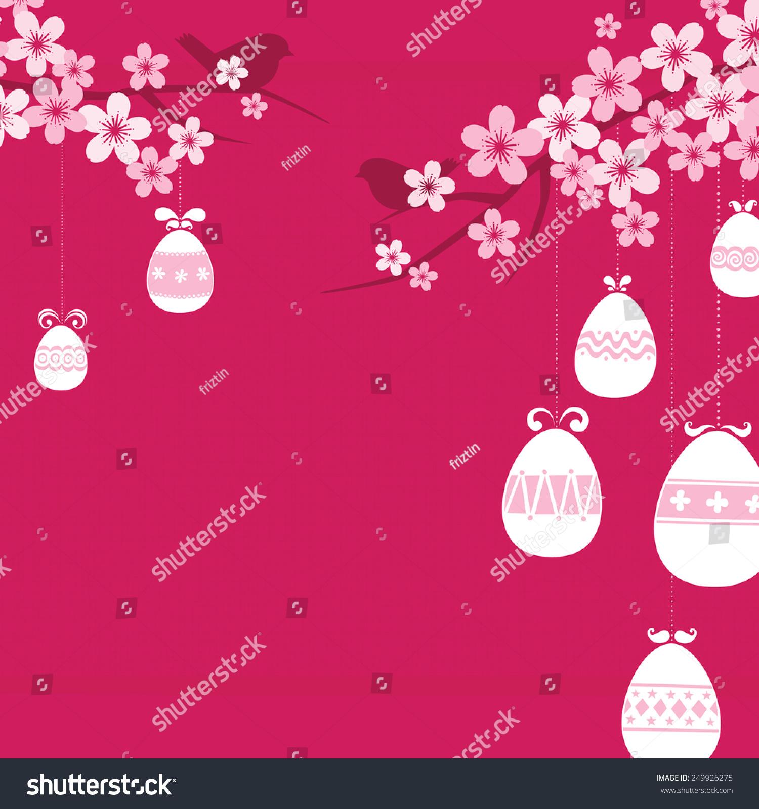 向量复活节背景,几个鸟坐在樱花/樱花树枝挂复活节