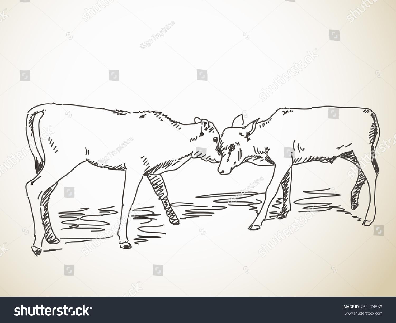 素描的对接小腿,手绘矢量插图-动物/野生生物,自然-()