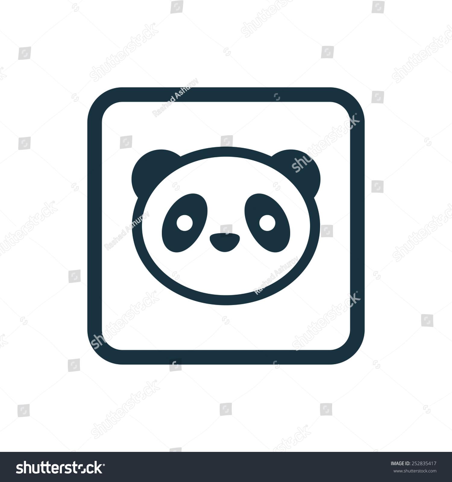 熊猫圆角正方形按钮图标,在白色的背景上-抽象-海洛()