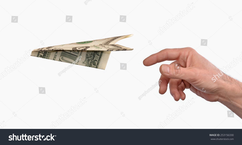 手把一美元纸飞机孤立在白色背景.-商业