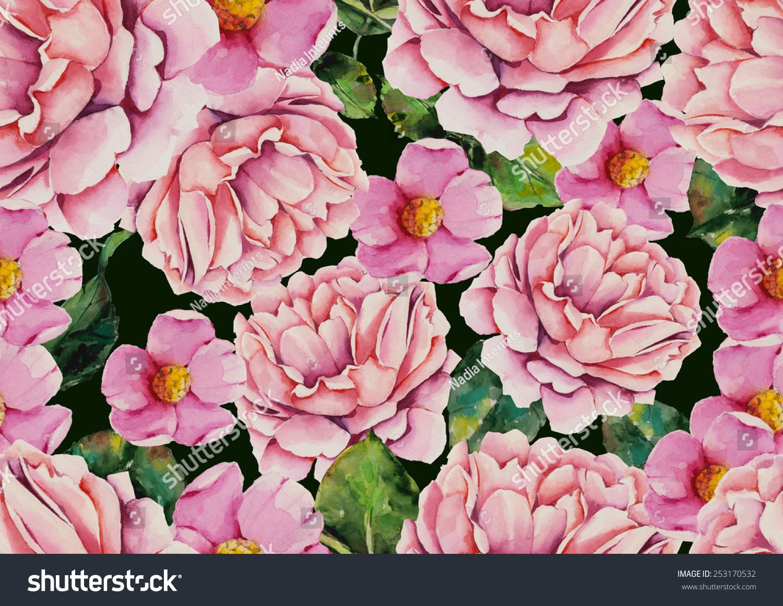 水彩粉红色花朵图案深绿色背景