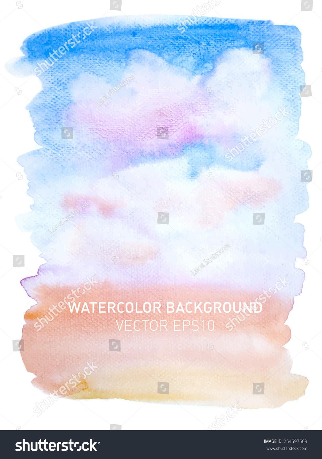 抽象水彩画彩虹渐变背景.天空与粉红色的云.手绘纹理.