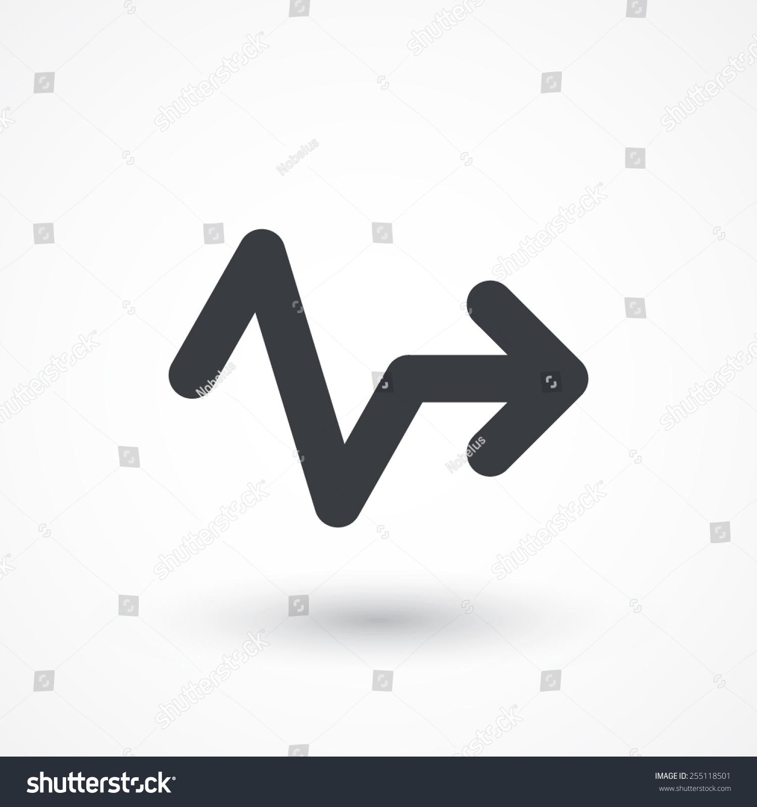 不规则的锯齿形线的箭头指向右边的图标-符号/标志