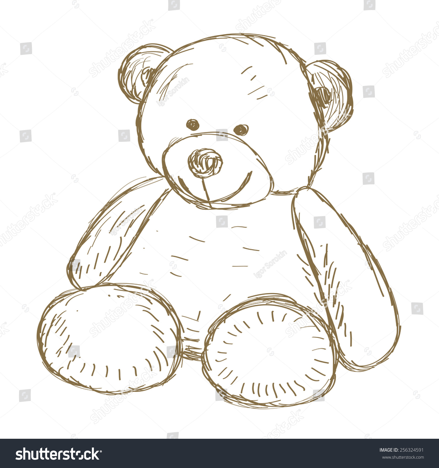 手绘的泰迪熊画插图-背景/素材,物体-海洛创意()-中国