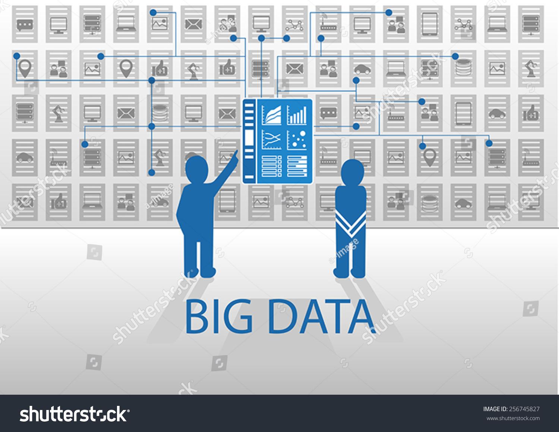 矢量图标说明在平面设计用蓝色和灰色大数据的概念.两
