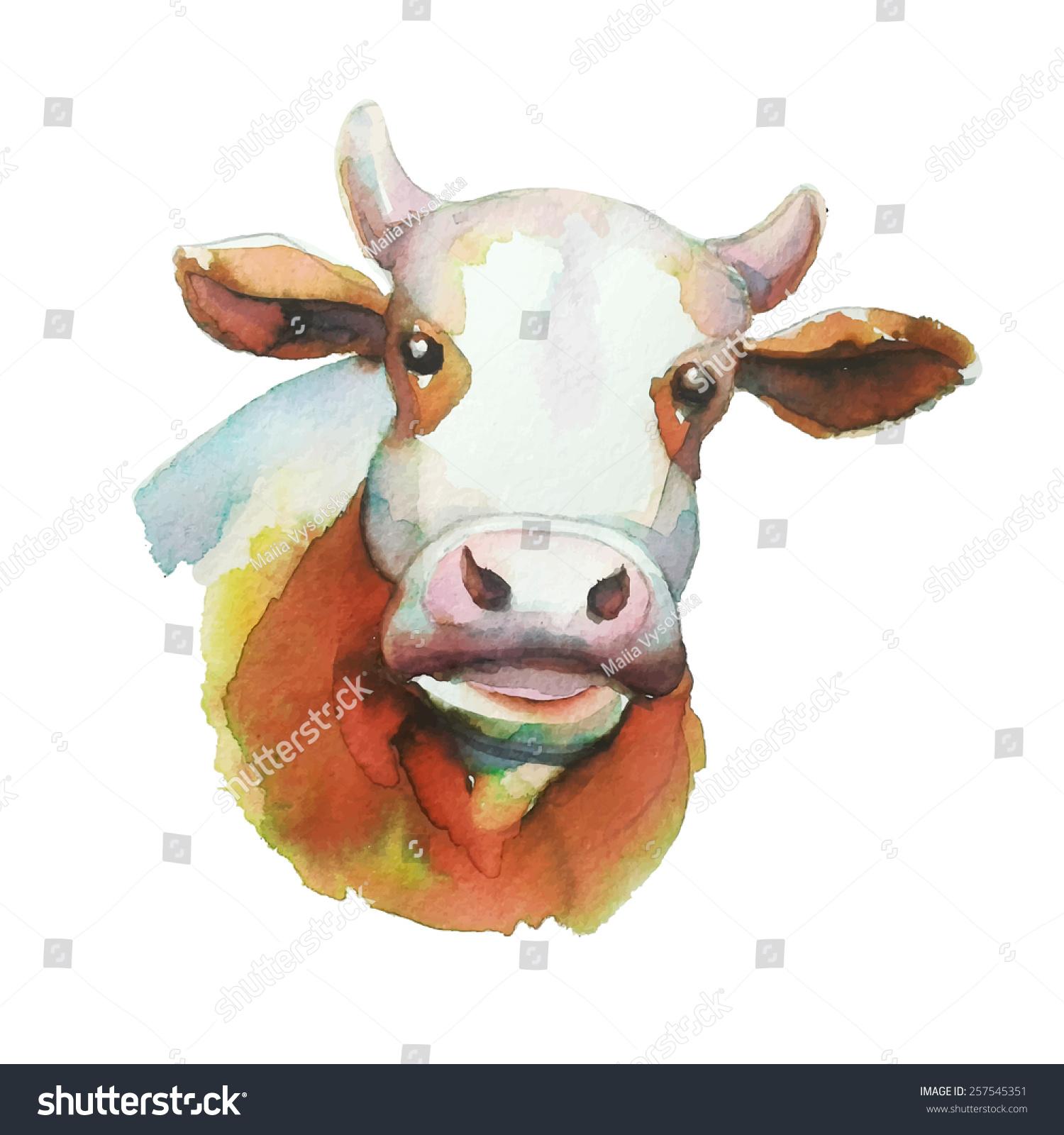 牛,水彩画插图向量-动物/野生生物,食品及饮料-海洛()