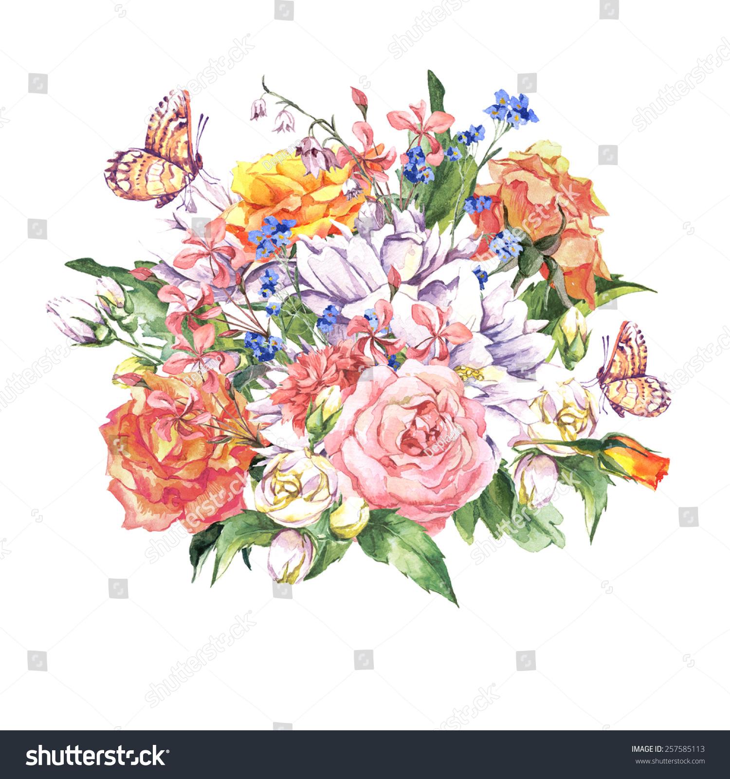 春天的花和玫瑰花束,茉莉花,蝴蝶和野花,老式贺卡,.