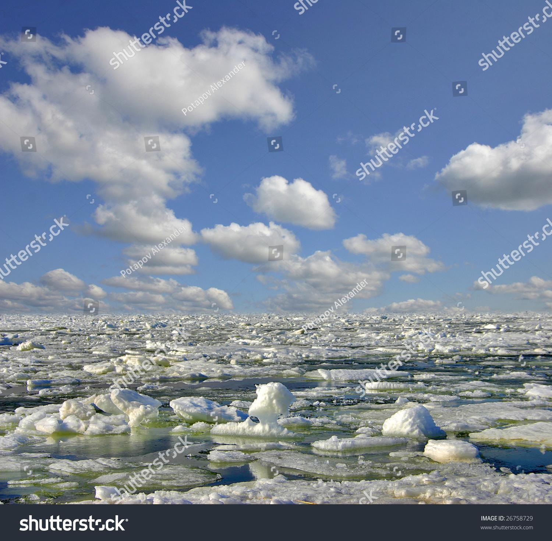 冰雪覆盖的冬季海洋景观-自然,交通运输-海洛创意()-.图片