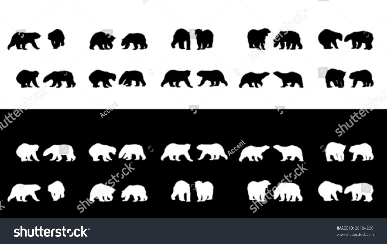 北极熊的轮廓收藏-动物/野生生物