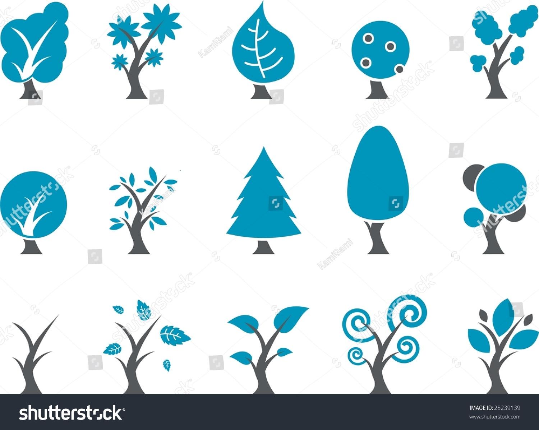 矢量图标包-蓝色系列,树集合-插图/剪贴图