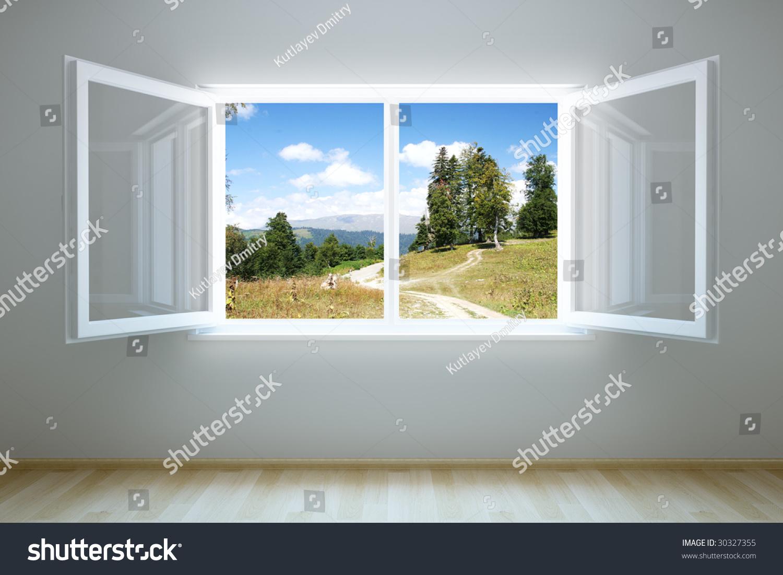 d渲染的空房间里,打开窗户-编辑