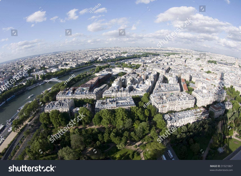 鸟瞰城市的法国和巴黎塞纳河从埃菲尔铁塔拍照二级