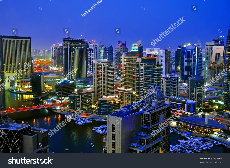 迪拜城市风貌夜景3-自然,建筑物/地标-海洛创意()-合.