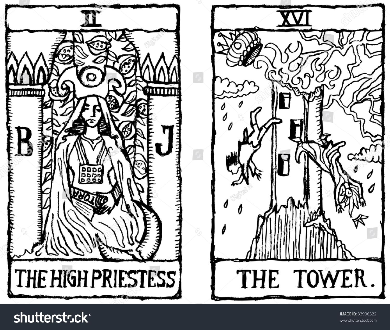 低劣的变形塔罗牌描绘女祭司和塔