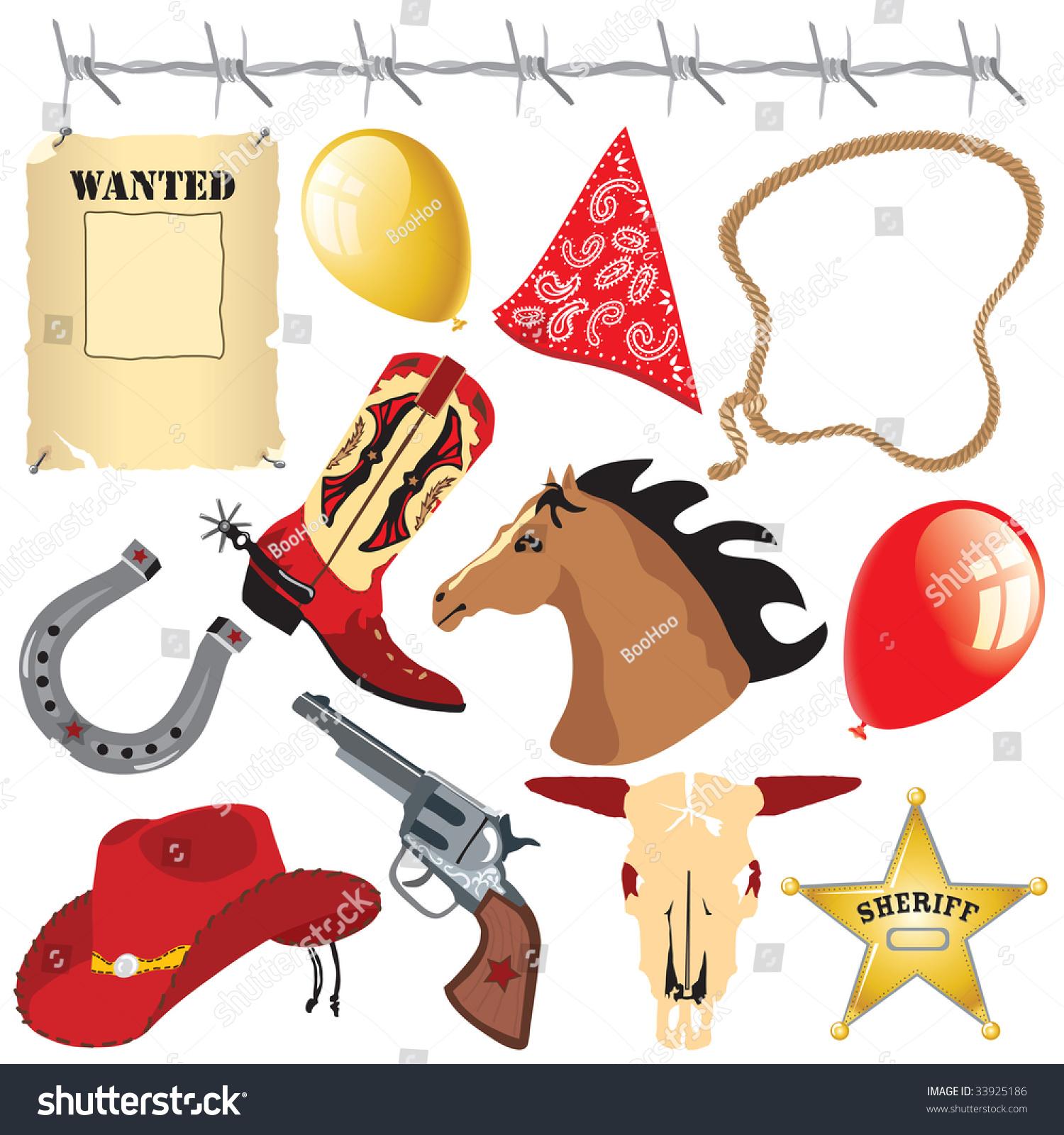 牛仔生日派对剪贴画-物体,插图/剪贴图-海洛创意()-合