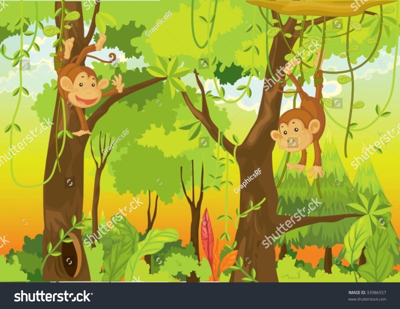 说明卡通猴子的白色-插图/剪贴图