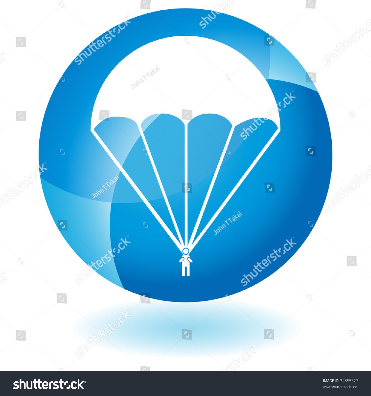 降落伞图标玻璃-插图/剪贴图,交通运输-海洛创意()-合