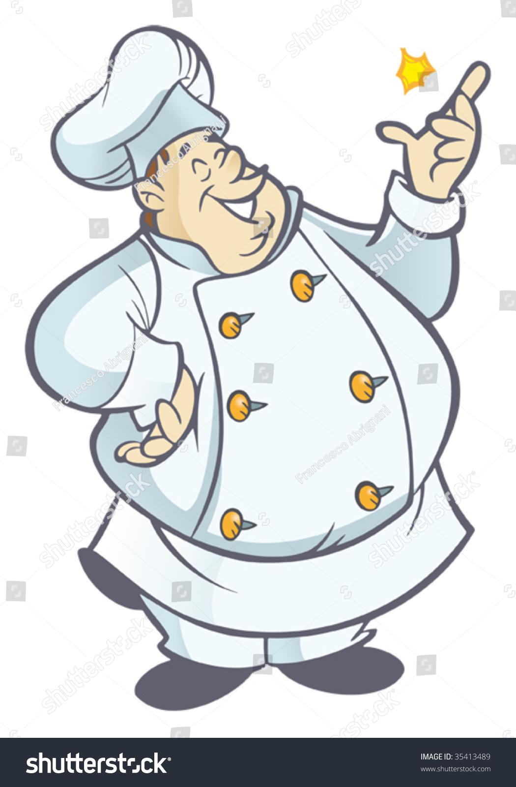 在白色制服掰手指胖厨师卡通-食品及饮料,插图/剪贴图