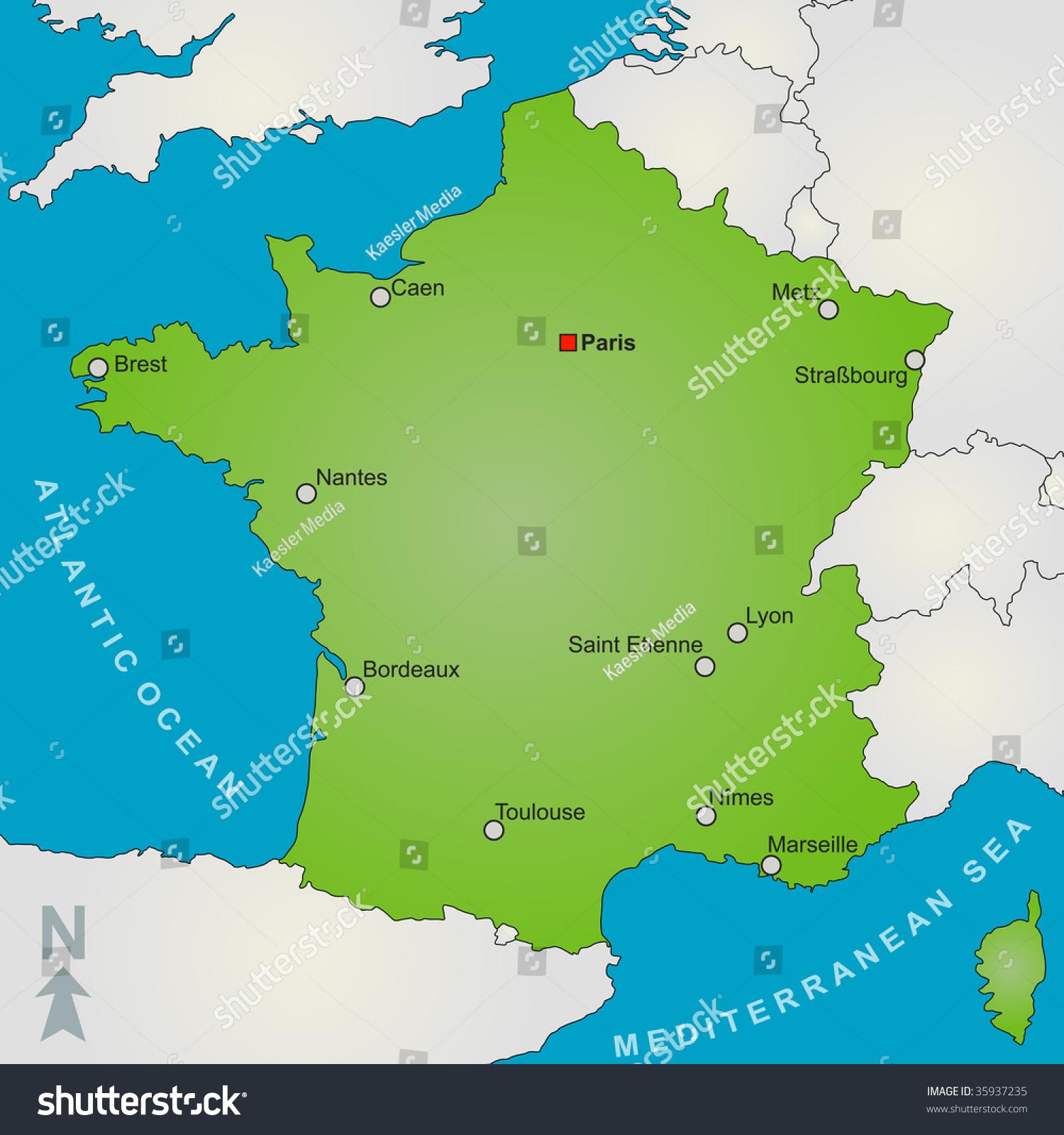 法国的地图显示几个大城市和周边国家.-背景/素材,/图