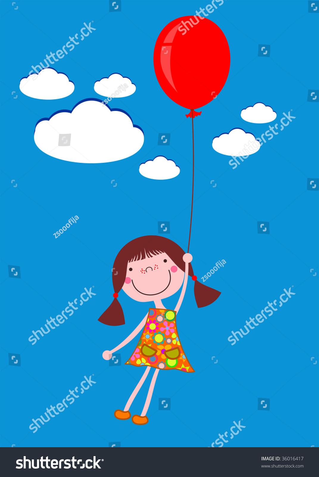 可爱的卡通小女孩与一个红色的气球飞行了向量看到我