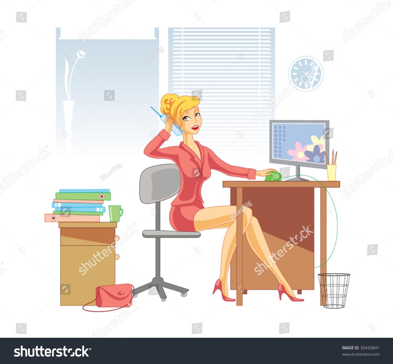 办公室插图与女人通过电话交谈-插图/剪贴图