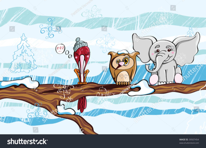 猫头鹰下滑与另一个鸟在树枝上惊讶地看到大象旁边