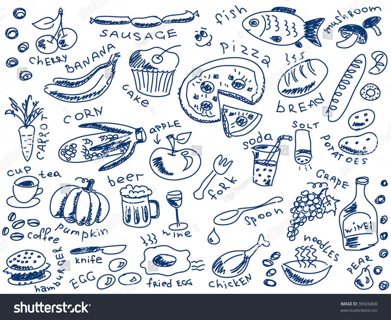 组食物涂鸦向量