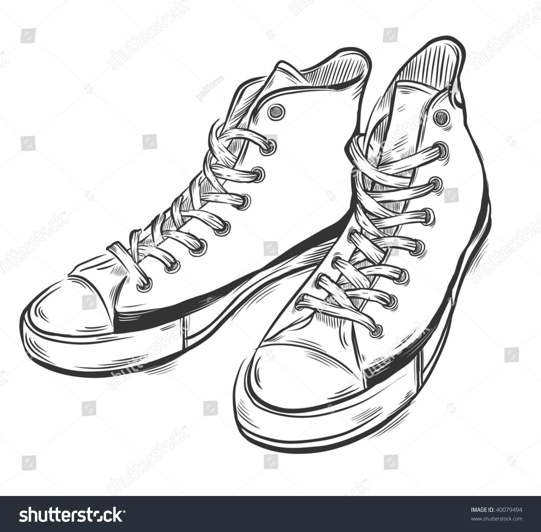 手绘运动鞋.矢量插图