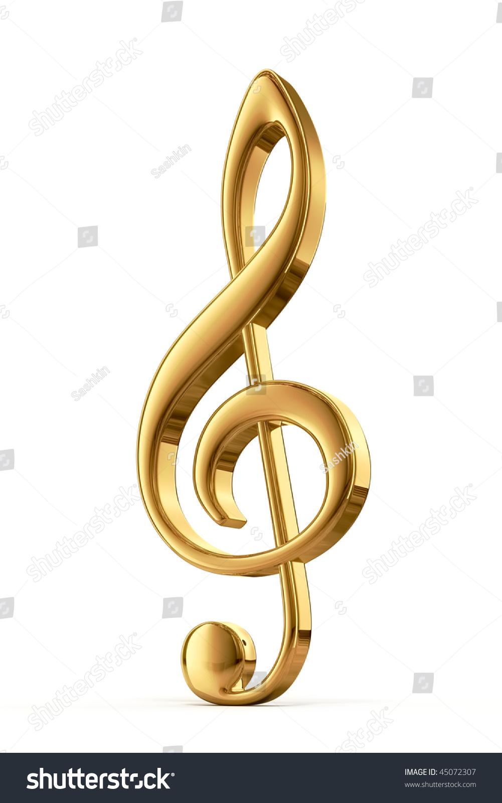 金色的高音谱号,3 d渲染-插图/剪贴图,符号/标志-海洛