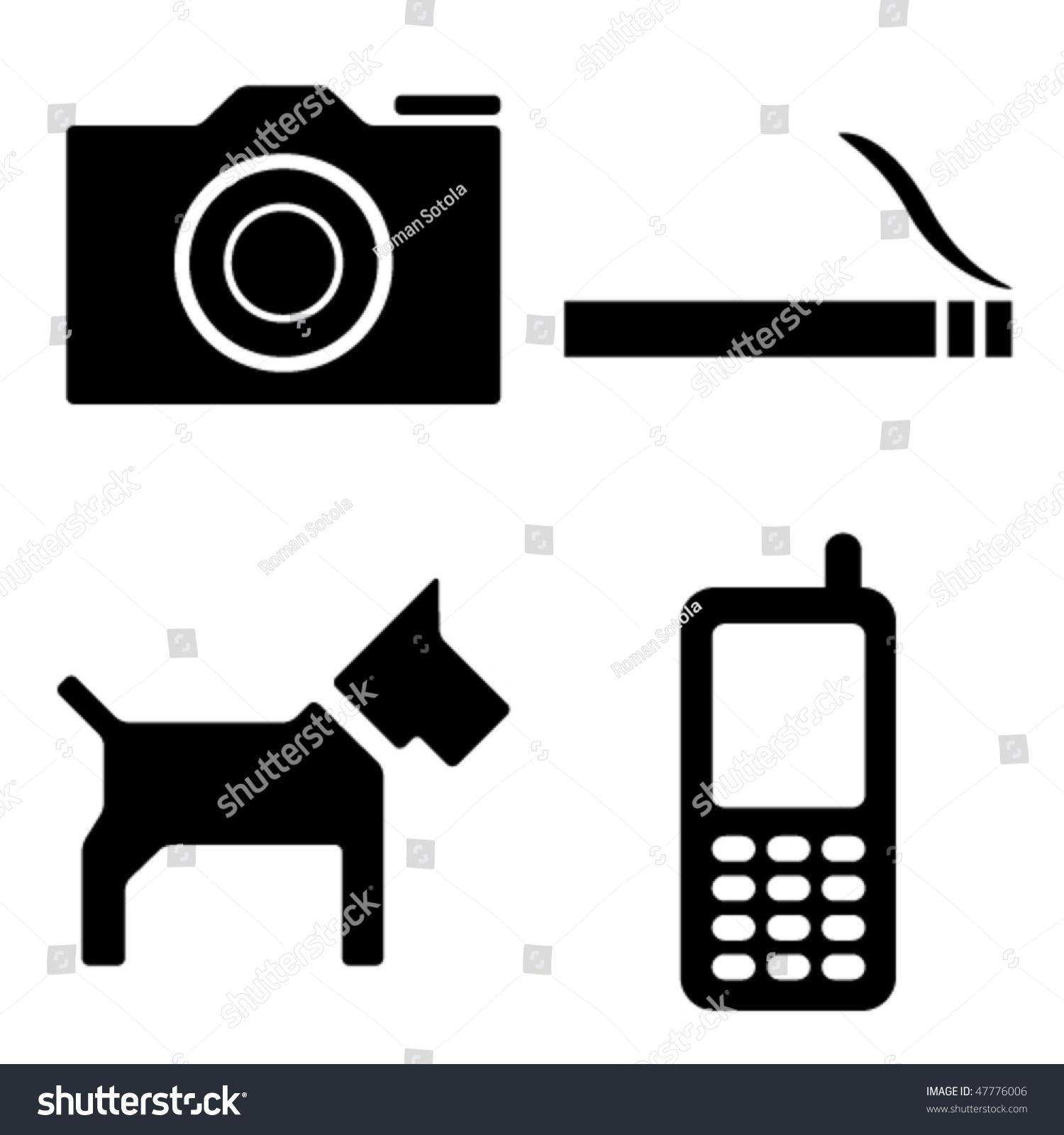 矢量相机的香烟狗手机图标-插图/剪贴图,符号/标志-()