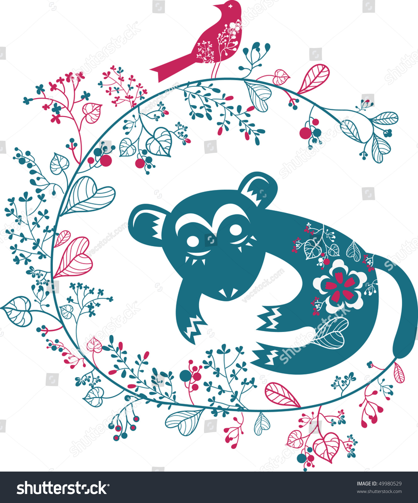可爱的小猴子形状花园壁纸-动物/野生生物