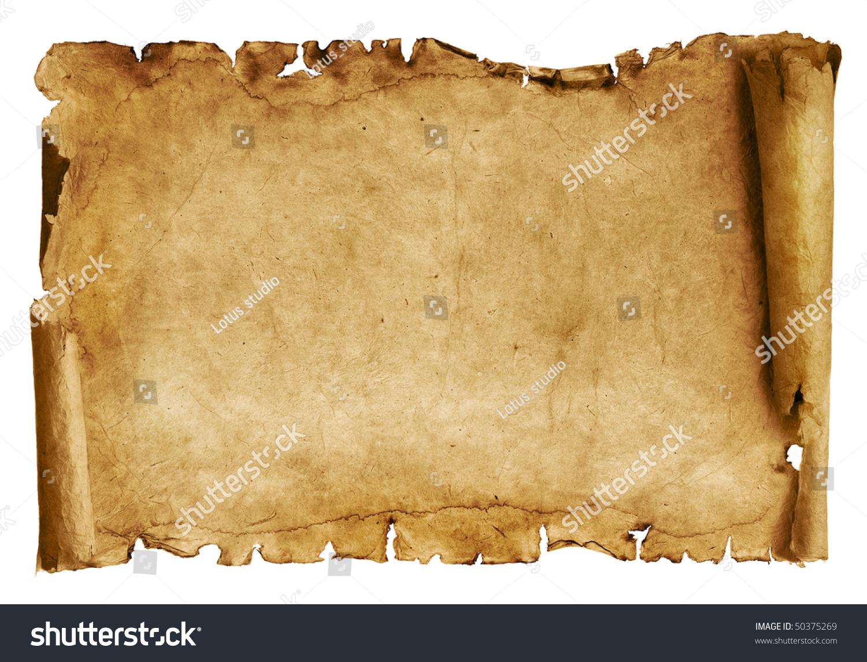老纸卷轴孤立在白色的-复古风格,物体-海洛创意()-合.