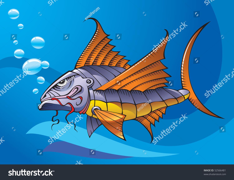 机器人机械鱼,海洋背景下,光栅的矢量插图-动物/野生