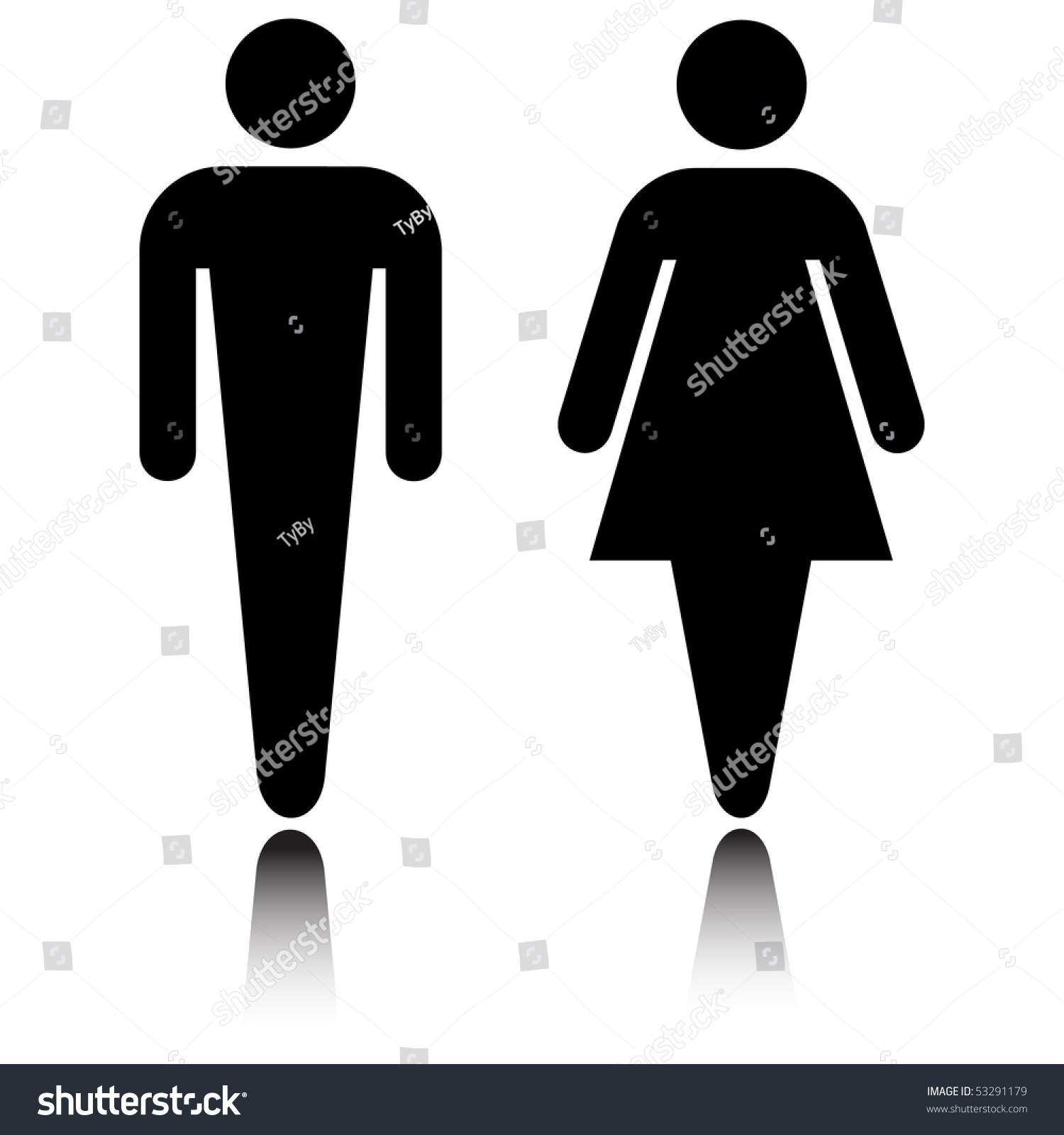 厕所图标设置反射孤立在白色的向量