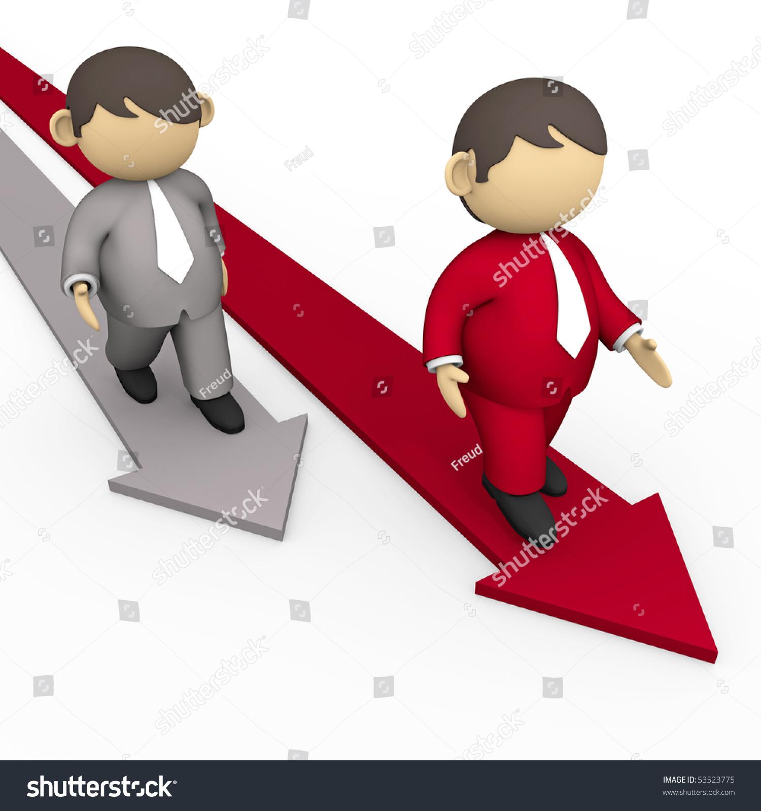 商人走在箭头形状紧随其后-商业/金融,插图/剪贴图-()