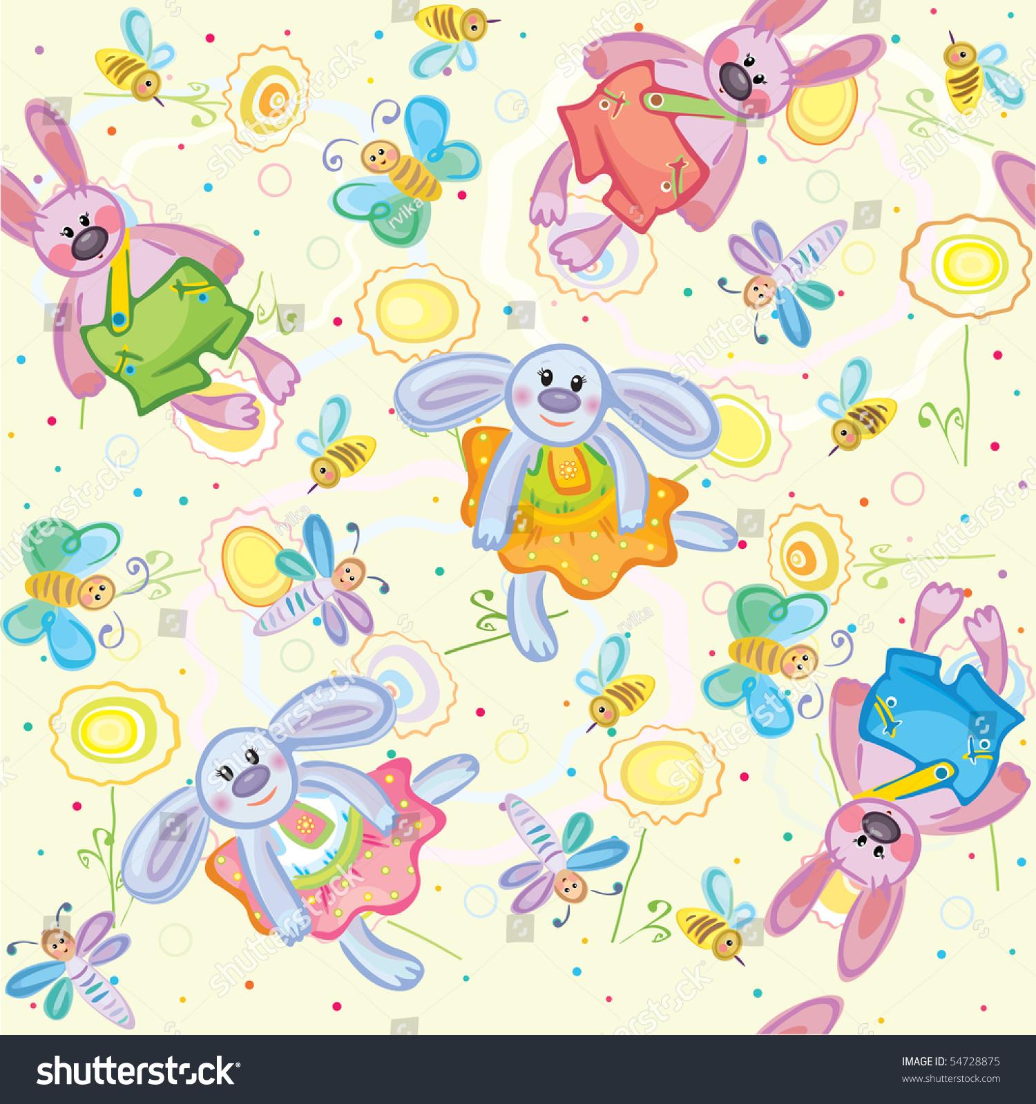 无缝的可爱的兔子-背景/素材,插图/剪贴图-海洛创意()