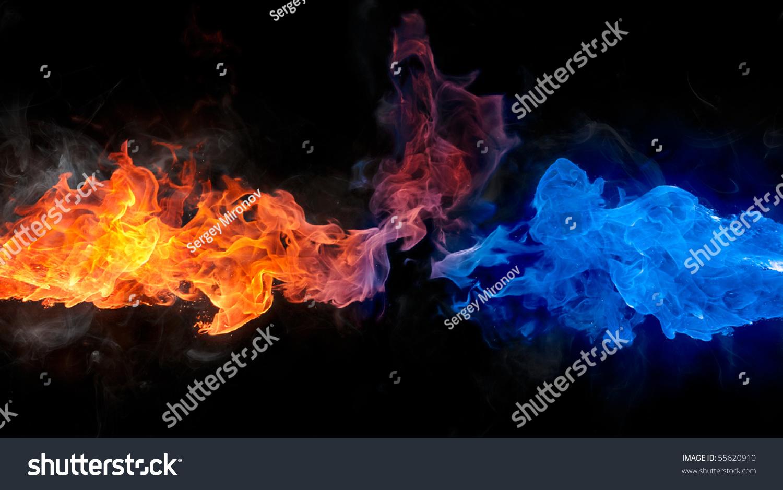 红色和蓝色的火-背景/素材,抽象-海洛创意(hellorf)-.