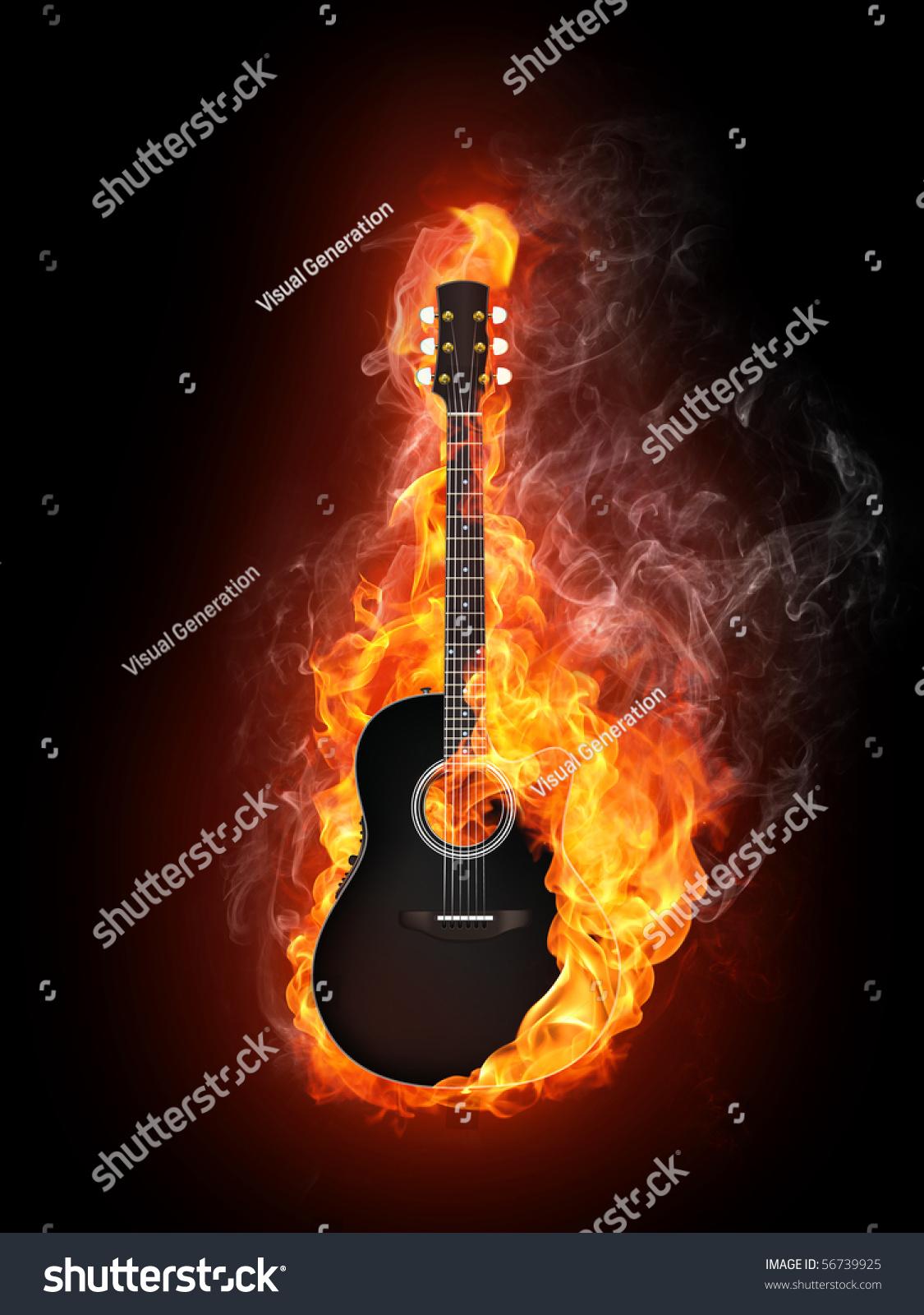 声——电吉他在火灾火焰隔离在黑色背景