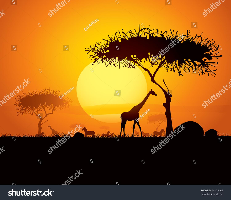 轮廓动物和树木在非洲日落背景