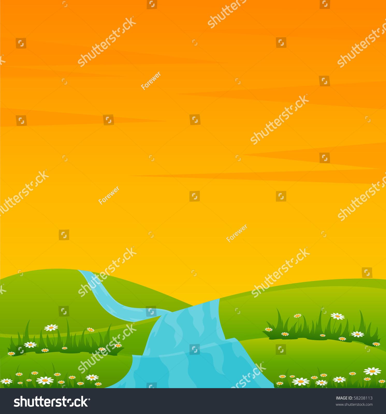 向量与河景观-背景/素材,插图/剪贴图-海洛创意()-合.