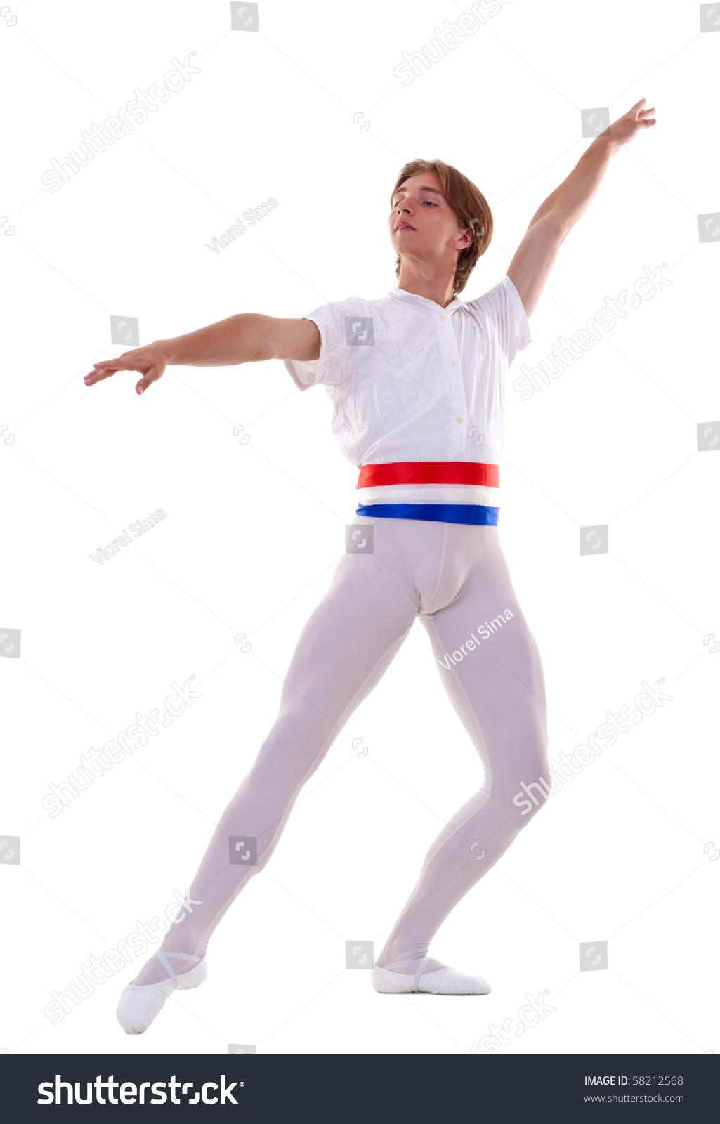 男芭蕾舞者在白色背景上摆姿势-艺术,人物-海洛创意()