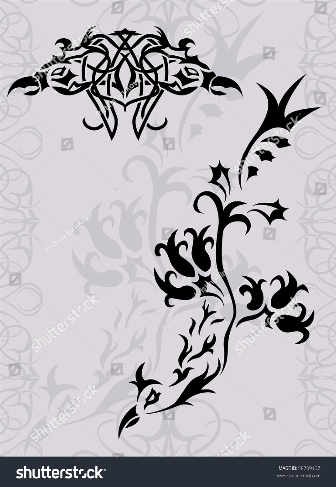 幻想凤凰纹身轮廓矢量插图-背景/素材,插图/剪贴图-()