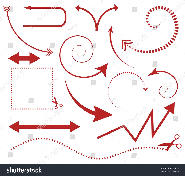 向量组箭头和剪刀剪线-插图/剪贴图,交通运输-海洛()