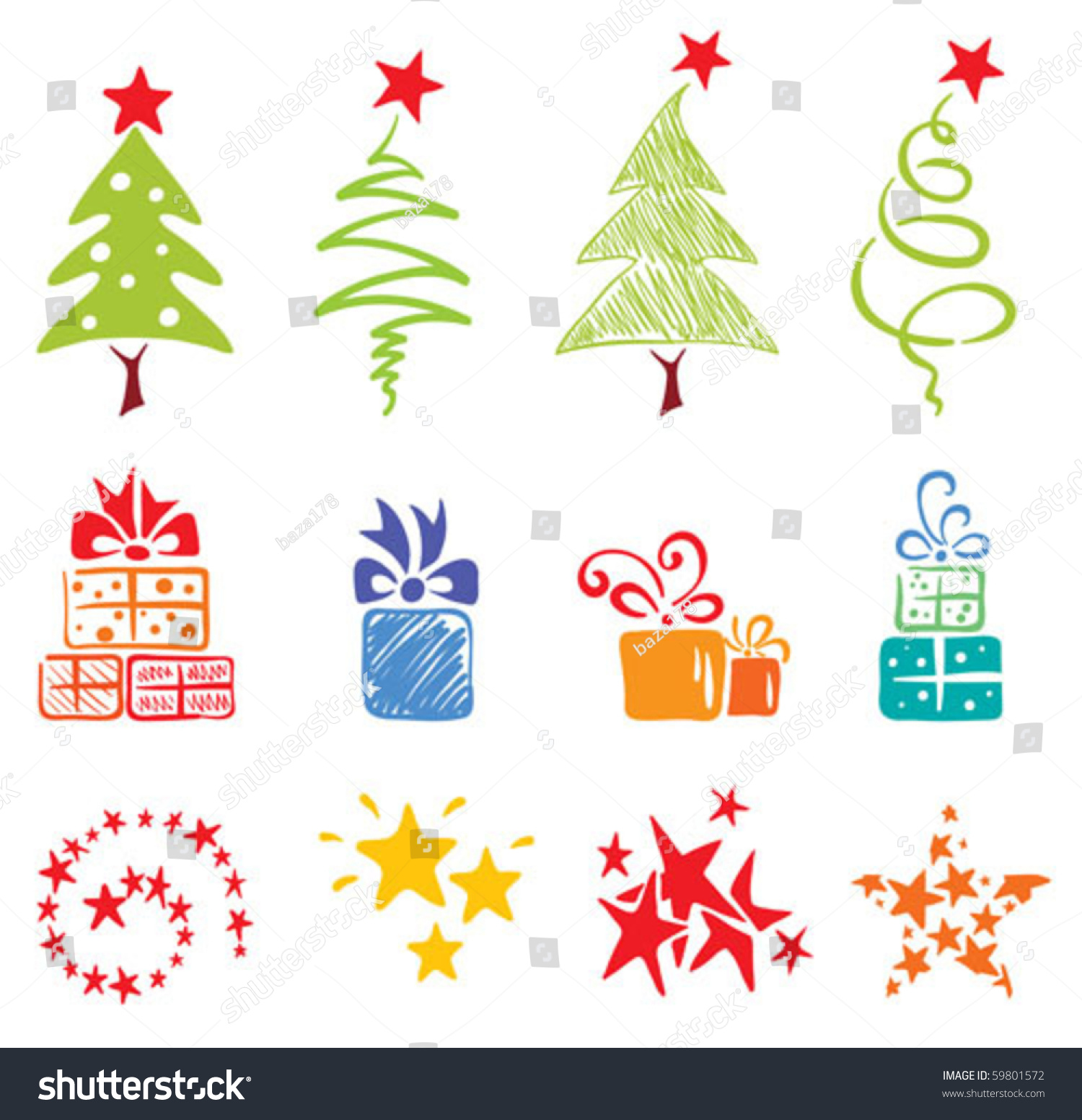 圣诞节的对象——树木,礼物,星星-假期,插图/剪贴图